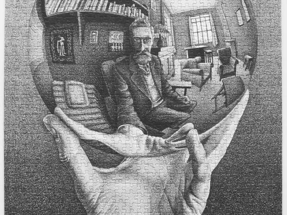 Hand mit (spiegelnder) Kugel [Escher, 1935], 1000 Teile, Jumbo, Art.-Nr. 13092, gepuzzelt 2015