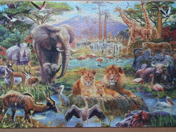 Africa Watering Hole by Jan Patrick Krasny ( 2015 ) 1500 Pieces ( Educa Puzzle )