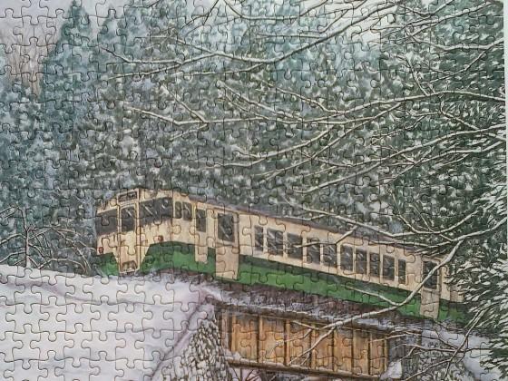 Zug im japanischen Winter