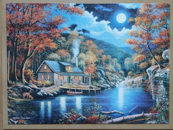 Cabin by the Lake , by John Zaccheo 2000 Pieces ( Castorland Puzzle )